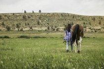 Jovem mulher andando com o cavalo através de exibição de campo, traseira — Fotografia de Stock