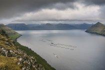 View towards the island of Kalsoy, Funningur, Faroe Islands, Denmark — Stock Photo