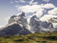 Landschaft mit schneebedeckten cuernos del paine, Nationalpark torres del paine, Chili — Stockfoto