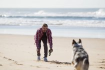 Man playing with dog on sandy beach — Stock Photo