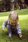 Девочка приседает, чтобы выбрать одуванчик в парке. — стоковое фото