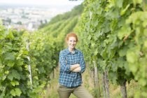 Portrait of woman in vineyard, Baden Wurttemberg, Germany — Stock Photo