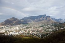 View across Cape Town to Table Mountain and Twelve Apostles mountain chain from Signal Hill, South Africa — Stock Photo