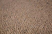 Vue de la doublure de route avec des pierres brunes — Photo de stock