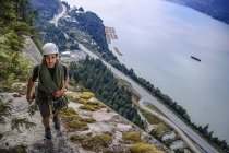 High angle view of male rock climber on The Chief, Squamish, Canada — Stock Photo