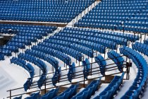 View of blue plastic seats in stadium in row — Stock Photo