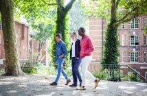 Три літні чоловіки ходіння по міській вулиці — стокове фото