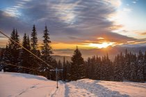 Подъемник на снегу покрыты пейзаж на закате, Gurne, Украина, Восточная Европа — стоковое фото