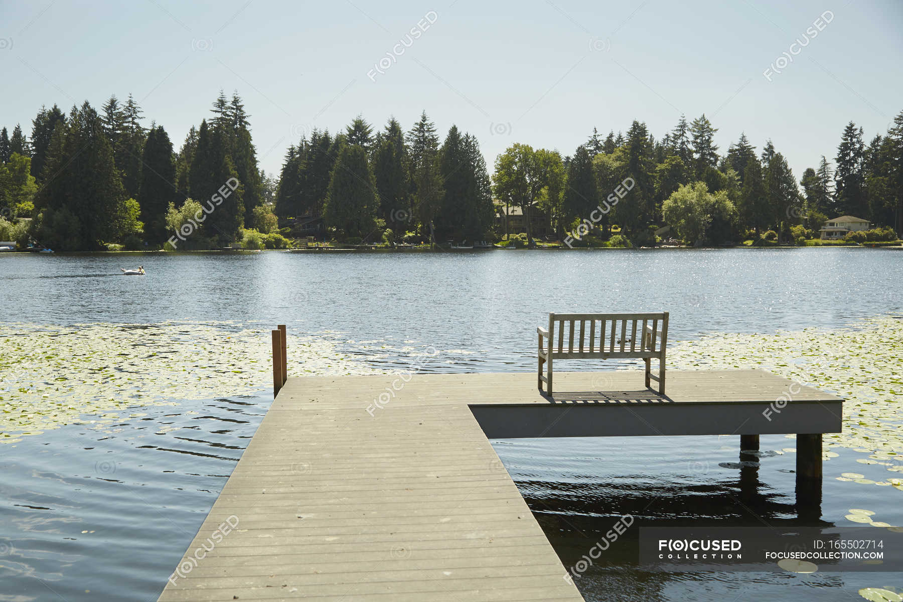 Bench at end of pier — clear sky, united states of america