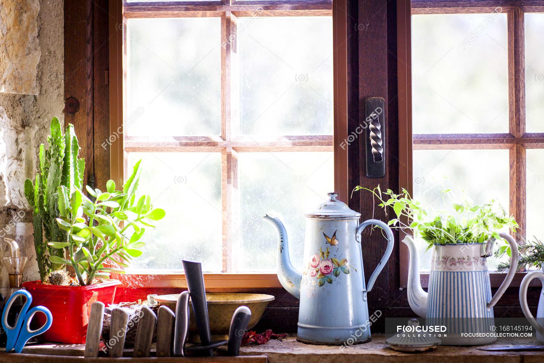 Rustic Coffee Pots And Pot Plants On Kitchen Windowsill Organic