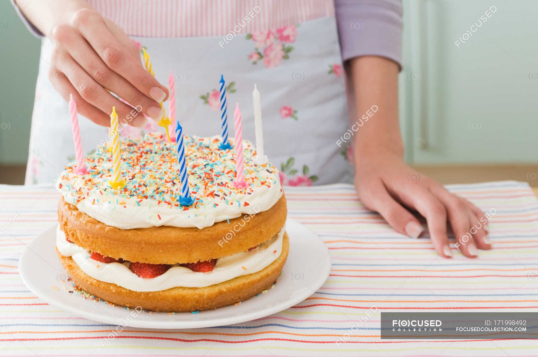 Amazing Cropped Image Of Woman With Birthday Cake Kitchen Icing Stock Personalised Birthday Cards Bromeletsinfo