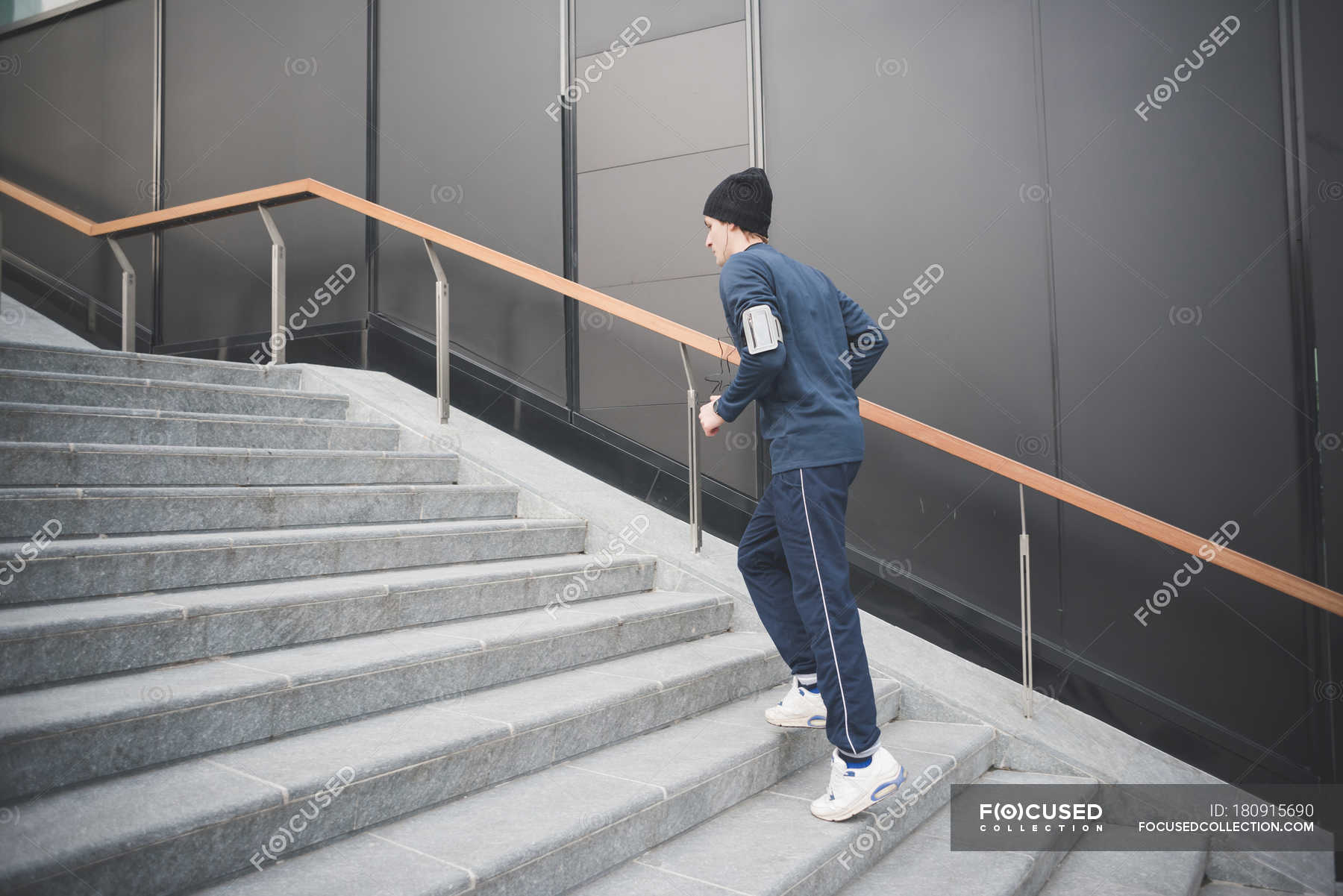 Young Male Runner Moving Up City Stairs Side View One Person Stock Photo 180915690