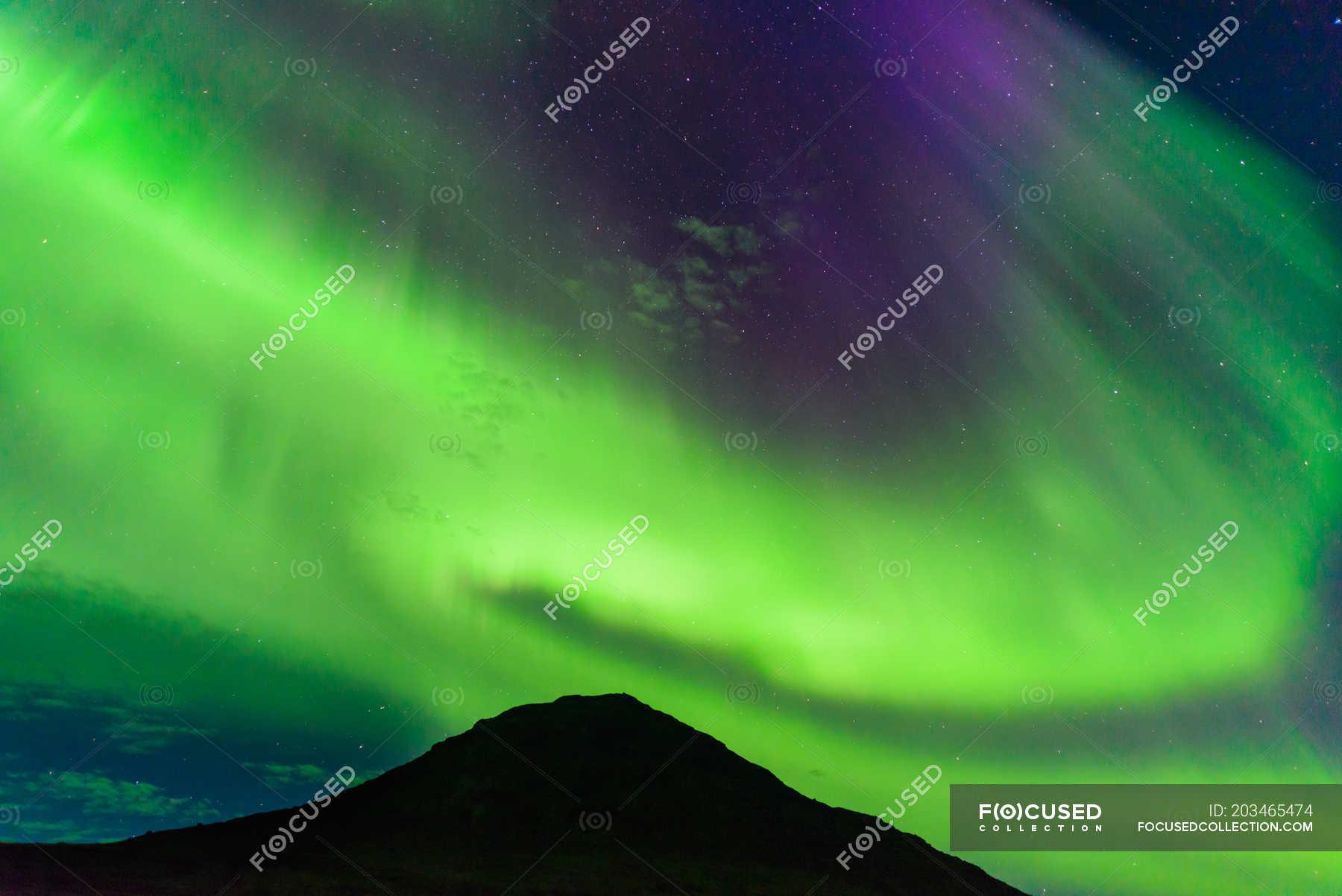 Aurora Borealis Above Mountain Narsaq Vestgronland Greenland Dark Colorful Stock Photo 203465474