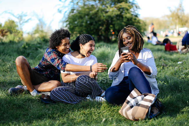 Group of friends sitting on grass — Stock Photo