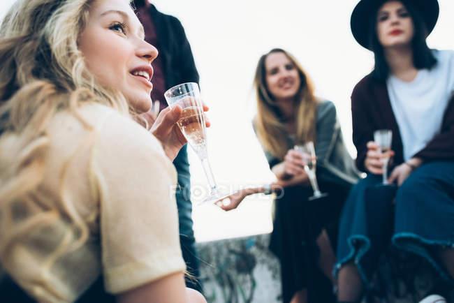 Grupo de amigos ao ar livre — Fotografia de Stock