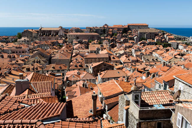 Terracotta rooftop cityscape of old town — Stock Photo