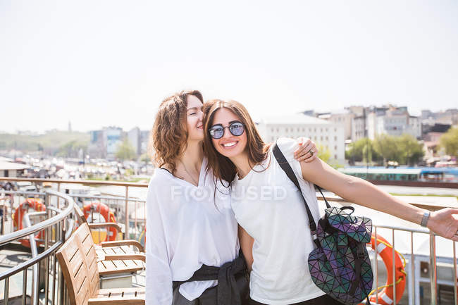Tourists on passenger ferry deck — Stock Photo