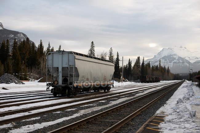 Freight train carriage on railway tracks — Stock Photo