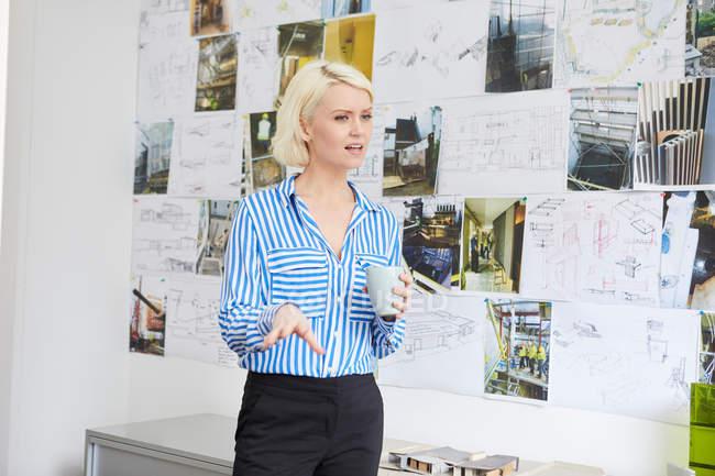 Female architect explaining mood board — Stock Photo