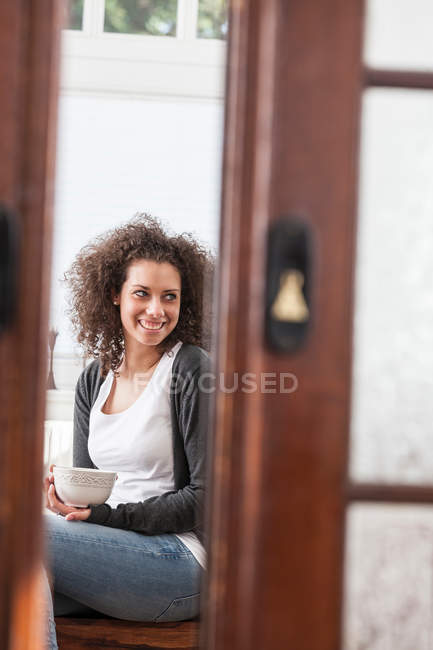 Woman having coffee — Stock Photo