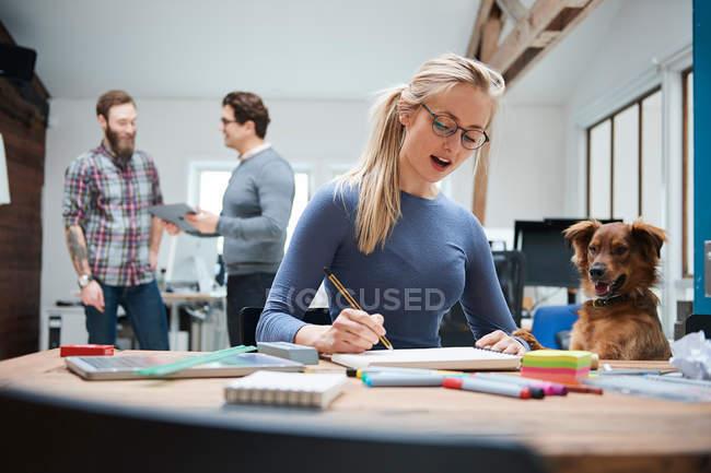 Mujer de diseñador en el escritorio con perro - foto de stock