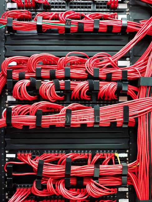 Red cables on data storage equipment — Stock Photo