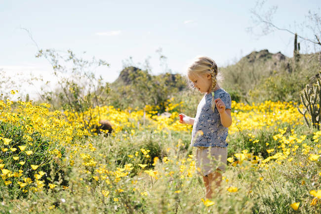 Girl in wildflowers meadow — Stock Photo