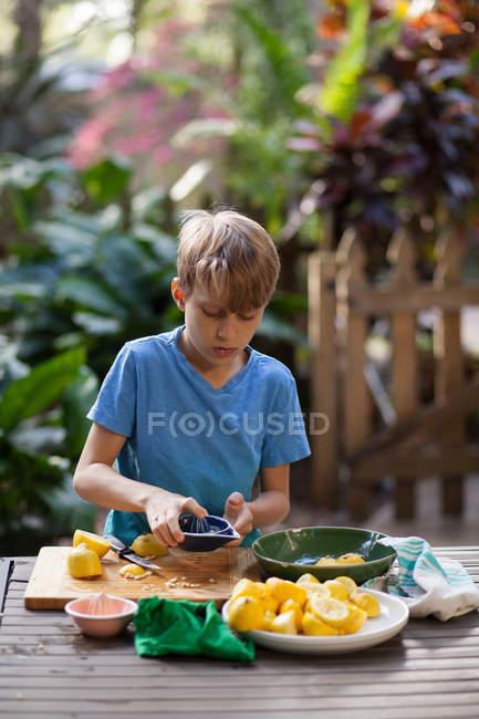 Menino preparando limões para limonada na mesa de jardim — Fotografia de Stock