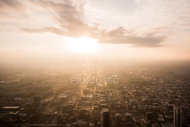 Vista do pôr do sol sobre Chicago — Fotografia de Stock