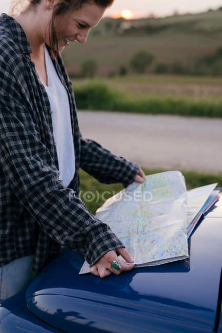 Carta stradale per la lettura turistica — Foto stock