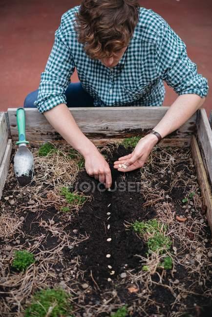 Uomo di piantare i semi nel terreno — Foto stock