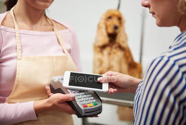 Toelettatore prendendo pagamento smartphone cliente — Foto stock