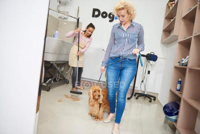 Donna con cocker animale domestico spaniel — Foto stock
