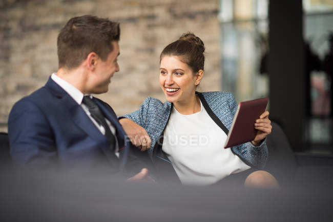 Businesswoman and man meeting — Stock Photo