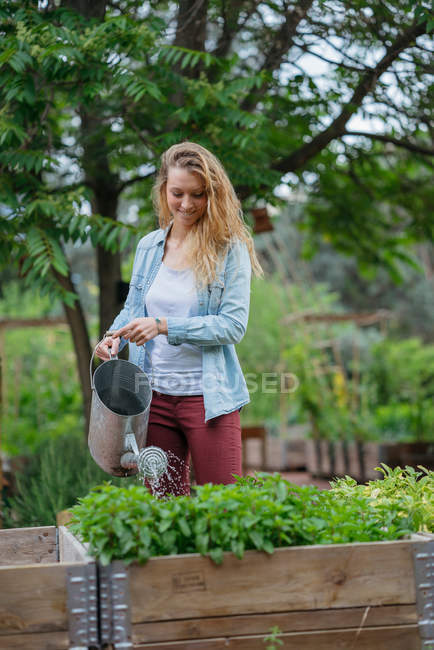 Young woman watering plants — Stock Photo