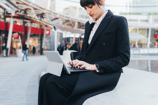 Businesswoman using digital tablet — Stock Photo