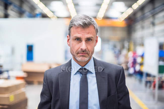 Business manager in distribution warehouse — Stock Photo