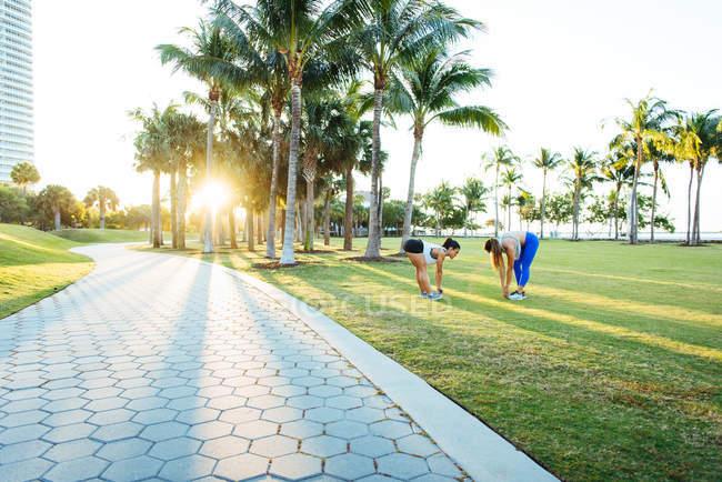 Jovens mulheres se exercitando ao ar livre — Fotografia de Stock