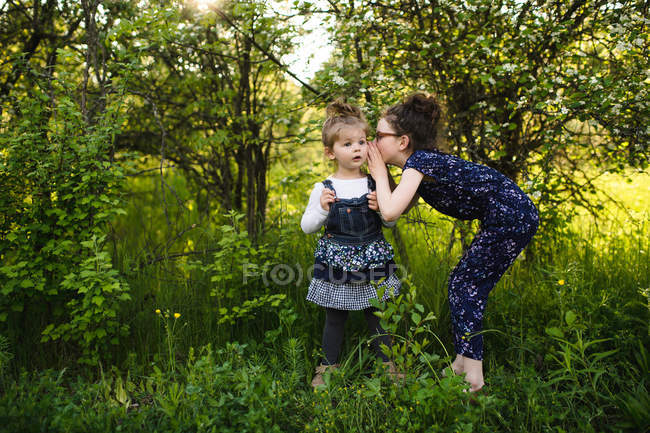 Girl whispering to little sister — Stock Photo