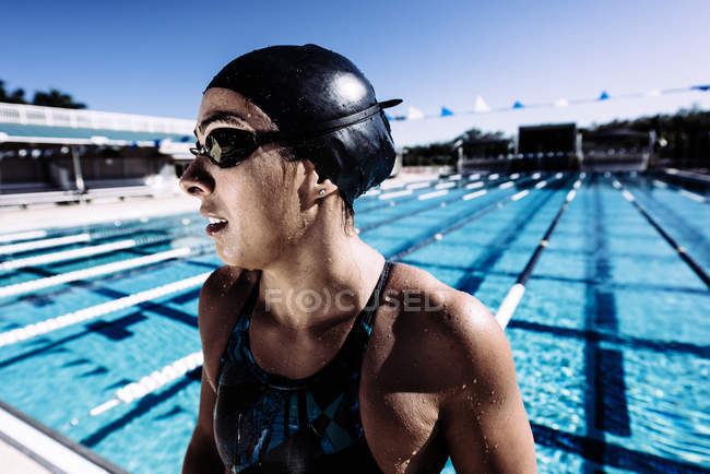 Swimmer in swimming cap — Stock Photo