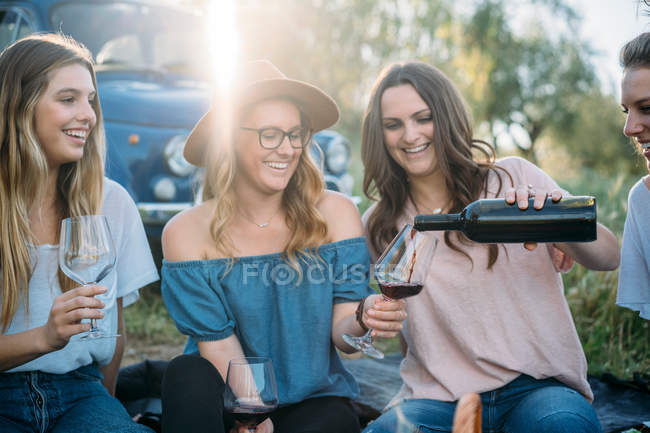 Friends sitting on grass pouring wine — Stock Photo