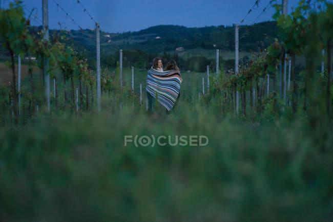 Туристів у винограднику, Тоскана, Італія — стокове фото