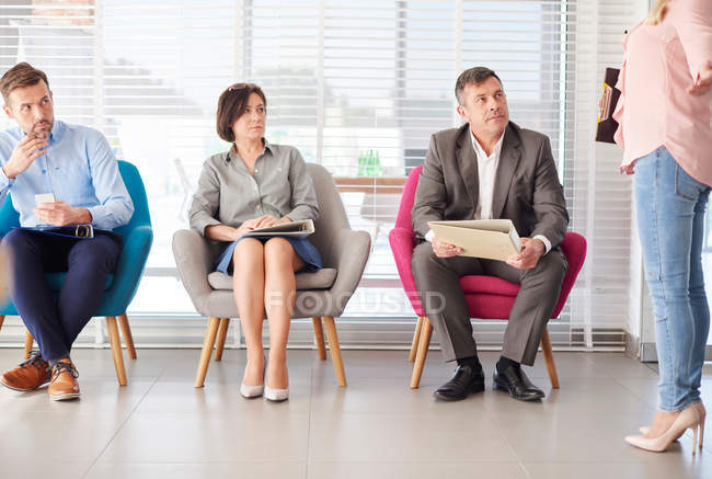 Candidates waiting at job interview — Stock Photo