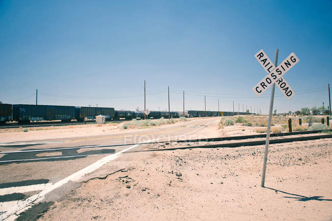 View of Railroad crossing — Stock Photo