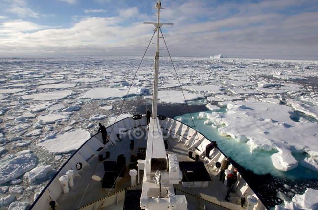 Vue de la banquise dans l'océan Austral de navire — Photo de stock