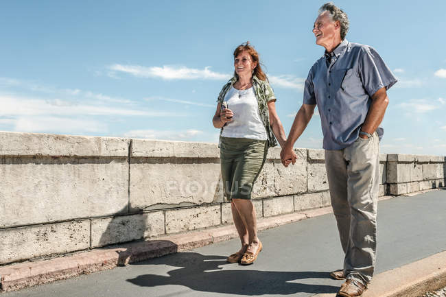 Couple holding hands on bridge — Stock Photo