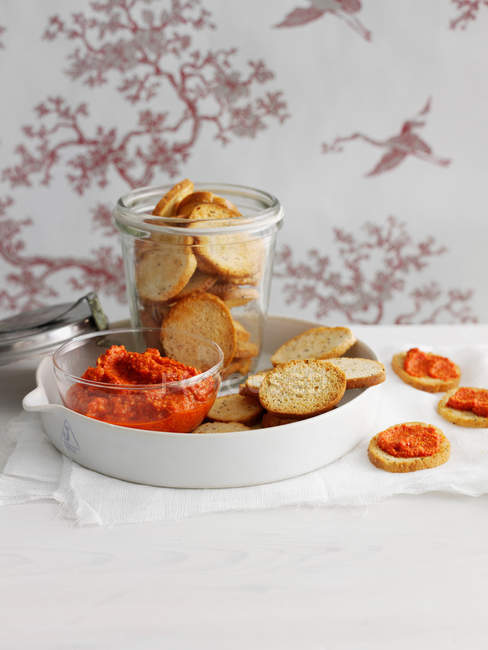 Toasted bread with spread — Stock Photo