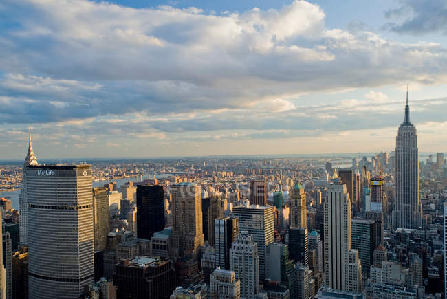 New York cityscape at sunset — Stock Photo