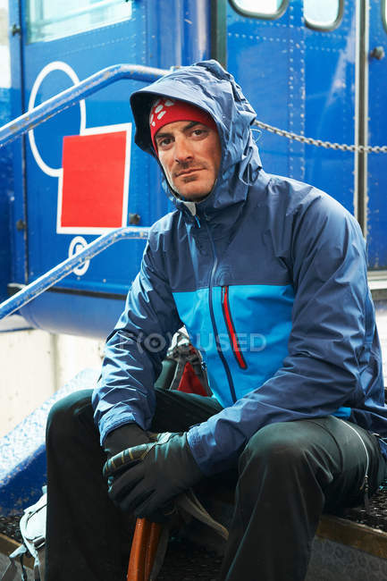 Portrait of man wearing blue jacket — Stock Photo