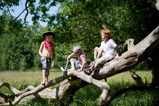 Jungen in Kostümen spielen auf Baumstamm — Stockfoto